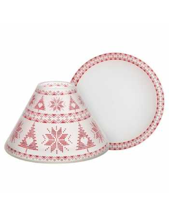 RED NORDIC FROSTED GLASS LARGE SHADE & TRAY