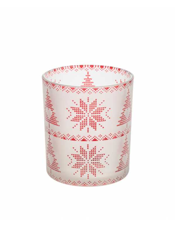 RED NORDIC FROSTED GLASS VOTIVE HOLDER